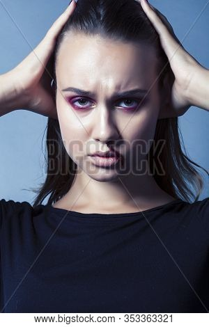 Problem Depressioned Teenager With Bleeding Nose, Real Junky Close Up Mainstream Angry Concept, Life