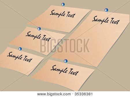 Vector Note Paper And Pins Layout