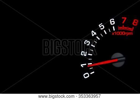 Close Up Shot Of A Tachometer In Car. Car Dashboard. Dashboard Details With Indication Lamps.car Ins