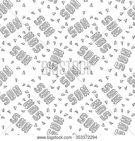 Sun Lettering. Faceted Shape Titles In Disorder With Sun Rays. Seamless Pattern For Wrapping Paper O