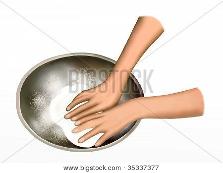 A Baker Kneading Dough in Mixing Bowl
