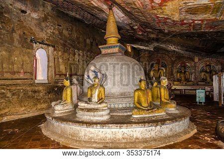 Dambulla,sri Lanka - February 5,2020 - Inside Of Interior Dambulla Caves Complex. Dambulla Caves Is