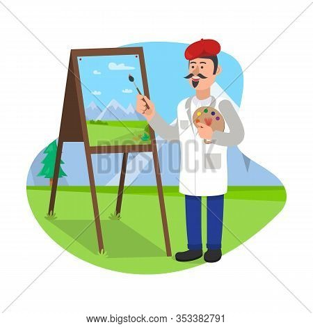 Art Teacher Stands With Brush Near Easel. Show On Easel In Classroom. School Education. Learn To Dra