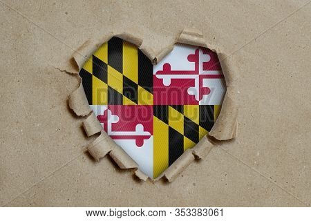 3d Illustration. Heart Shaped Hole Torn Through Paper, Showing Maryland Flag