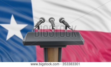 3d Illustration. Podium Lectern With Microphones And Texas Flag In Background