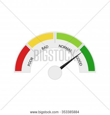 Credit Score Device, Indicate Payable. Vector Rating Pointer Customer Level, Measurement Equipment S