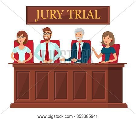 Jury Trial Representatives Flat Banner Template. Juror Duty Typography. Litigation Process In Courtr