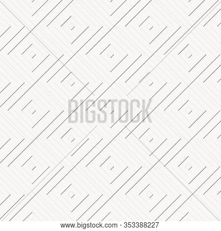 Geometric Vector Pattern, Repeating Linear Square Or Diamond Shape In Thick And Thin Line. Pattern I