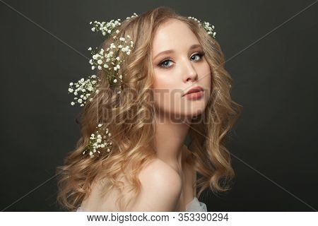 Perfect Blonde Woman Young Fiancee Portrait. Healthy Girl