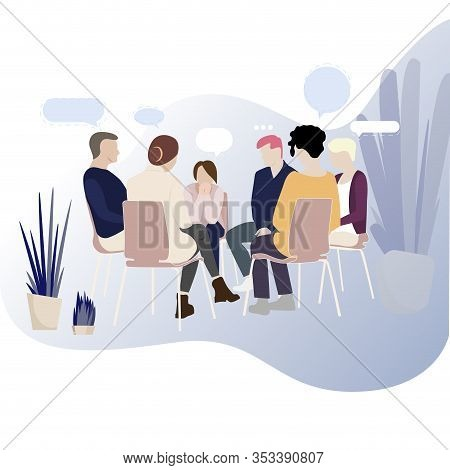 Group Therapy For Addiction People, Support Meeting Psychology. Illustration Group Conversation Psyc
