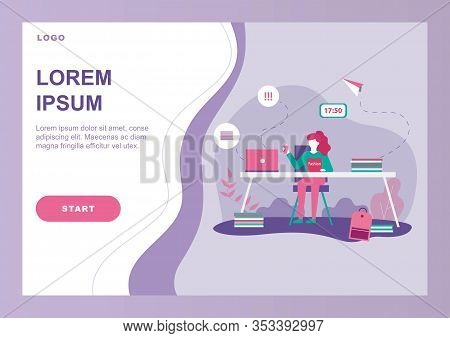 Procrastination And Time Wast Problem Flat Banner. Cartoon Landing Page. Woman Worker Character Watc