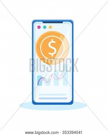 Cellphone Smartphone Golden Dollar Coin And Graph On Screen Vector Isolated Illustration Online Mobi