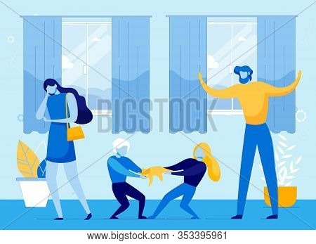 Parents Losing Control Under Hyperactive Fighting Children. Family Missing Discipline And Order, Dif