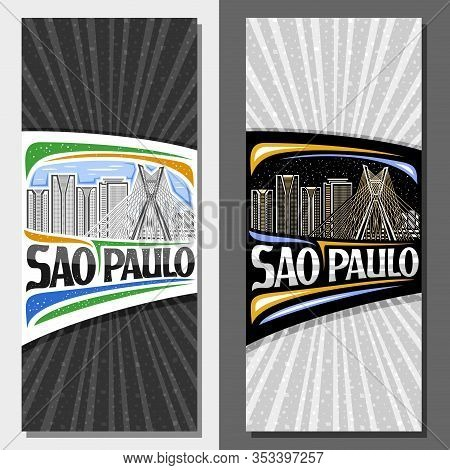 Vector Layouts For Sao Paulo, Invitation With Line Illustration Of Contemporary Sao Paulo City Scape