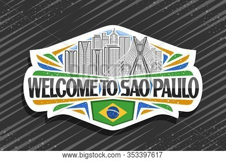 Vector Logo For Sao Paulo, White Decorative Sign With Line Illustration Of Famous Sao Paulo City Sca