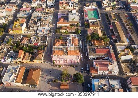 Aerial View Of Assomada City In Santa Catarina District Of Santiago Island In Cape Verde