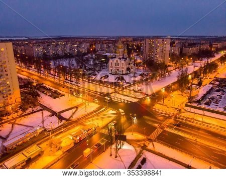 Aerial City Winter View With Crossroads And Roads, Houses, Buildings, Parks. Helicopter Drone Shot.