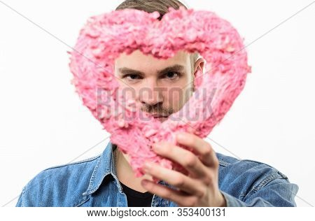 Take My Heart. Valentines Day Party. Love And Romance. Man With Decorative Heart. Date. Romantic Gre