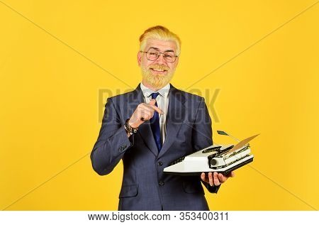 Mature Man Dyed Beard Hair Yellow Background. Writer Stick Old Habits. Used Goods Store. Salesman Vi