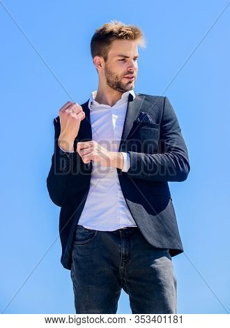 Male Fashion. Formal Style. Confident Handsome Businessman. Handsome Man Fashion Model. Looking Impe