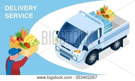 Food Delivery Logistics Isometric Banner Template. Male Courier Holding Box With Vegetables Cartoon