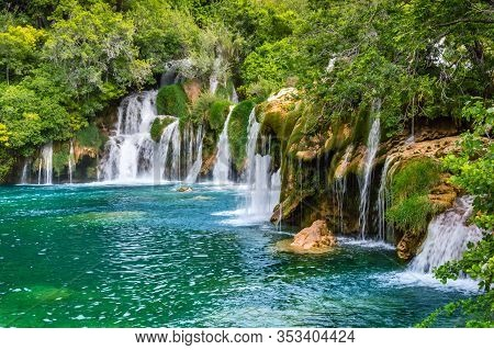Beautiful Krka Waterfalls In Krka National Park, Croatia. Skradinski Buk Is The Longest Waterfall On