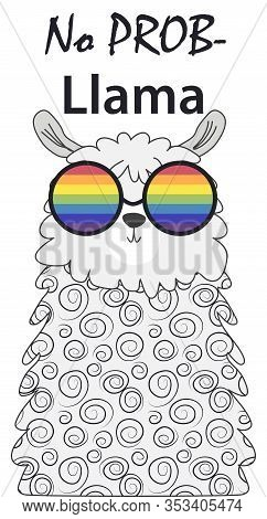 Lama In The Scandinavian Style, Fashionable, Cool, In Rainbow Glasses. Lgbt Freedom Concept. No Llam