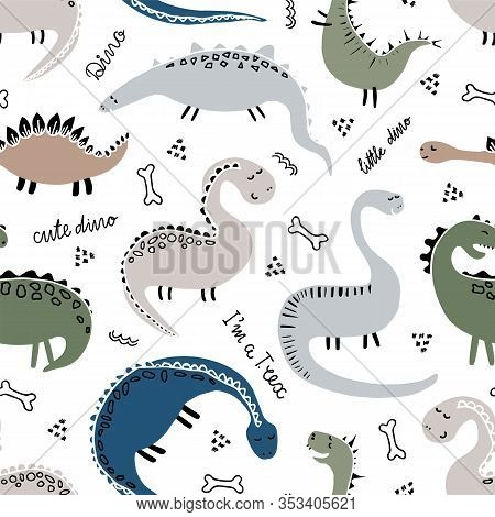 Cute Funny Dinosaurs Seamless Pattern. Hand Drawn Colorful Dinosaurs Vector Background.