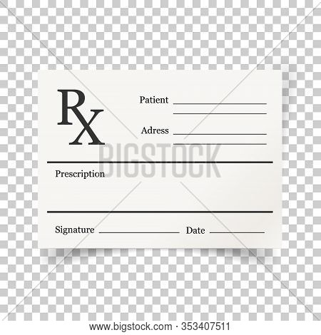 Realistic Prescription Icon In Flat Style. Rx Document Vector Illustration On White Isolated Backgro