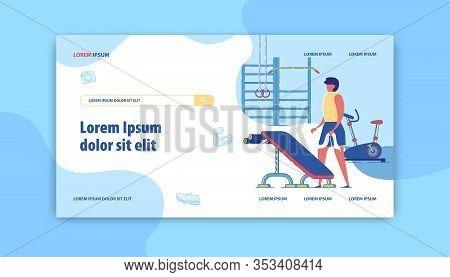Gym Banner. Workout Routines Training Program Service. Cartoon Man Lifting Dumbbells, Bench, Gymnast