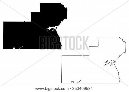 Glades County, Florida (u.s. County, United States Of America,usa, U.s., Us) Map Vector Illustration