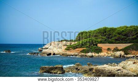 Sea Coast Hiking Path With Beautiful Sea View In Atalis Nature Park Near Sant Tomas In Menorca Islan