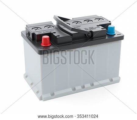 Car Battery Isolated On White Background 3d