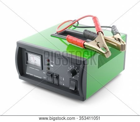 Car Battery Charger Device With Crocodile Clips Isolated On White Background 3d