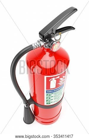 Red Fire Extinguisher Closeup Isolated On White Background 3d