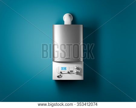 Gas Home Boiler With Electronic Control Panel On The Wall Of The House. 3d