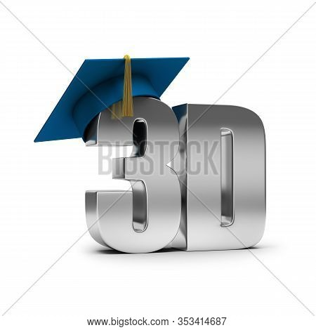 3d Courses. 3d Inscription And Graduate Cap On It. 3d Generated Image. White Background.
