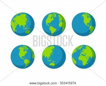 Set Globes Icon Collection Isolated On White Background. Planet With Continents Africa, Asia, Austra