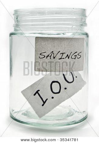Savings jar containing an IOU