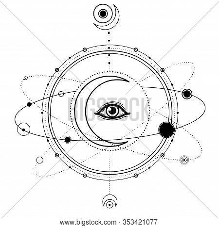Mystical Drawing: Moon, All-seeing Eye, Orbits Of Planets, Energy Circle. Sacred Geometry. Alchemy,