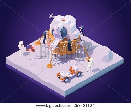 Vector Isometric Astronauts On Moon Mission. Two Astronauts Walking On Moon Surface, Apollo Lunar La