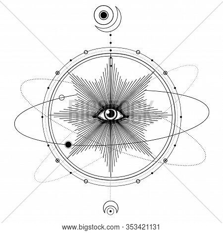 Mystical Drawing: All-seeing Eye, Orbits Of Planets, Energy Circle. Sacred Geometry. Alchemy, Magic,