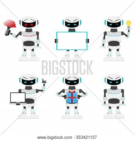 Robots Set Poses And Action. Cyborg With Laptop Or Flowers, Android Mechanical Present Gift, Robotic