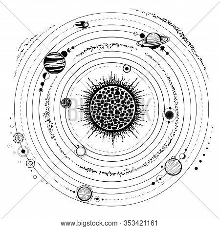 Monochrome Drawing: Stylized Solar System, Orbits, Planets, Space Structure.  Vector Illustration Is