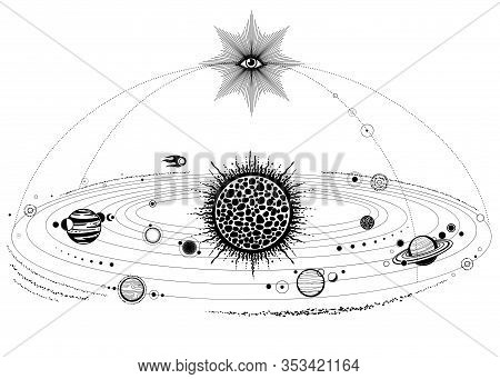 Monochrome Drawing: Stylized Solar System, Orbits, Planets, Space Structure. All-seeing Eye.  Vector