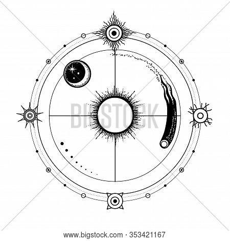 Mystical Drawing: Stylized Sun And Moon, Comet, Energetic Circles. Solar Symbols. Alchemy, Magic, Es