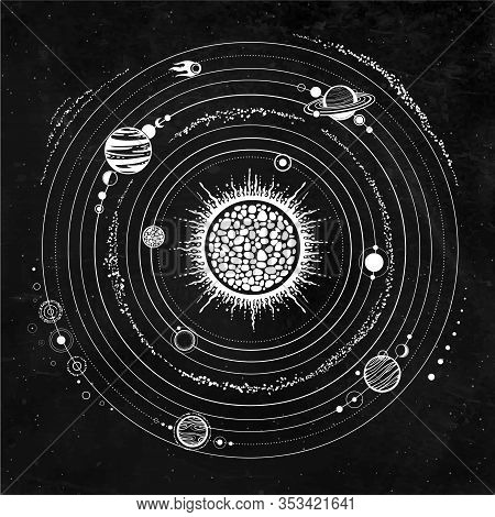 Monochrome Drawing: Stylized Solar System, Orbits, Planets, Space Structure. Background - Black Star