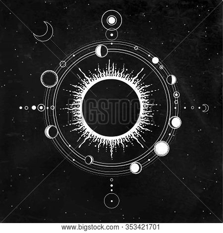 Mystical Drawing: Stylized Solar System, Moon Phases, Orbits Of Planets, Energy Circle. Sacred Geome