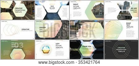 Minimal Presentations Design, Portfolio Vector Templates With Hexagonal Design Yellow Color Pattern