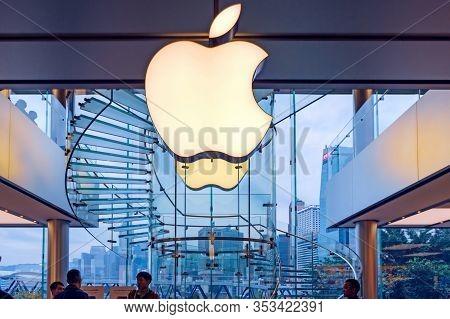 Logo Of Apple Inc. On A Mac Store. Hong Kong, 2018-03-14